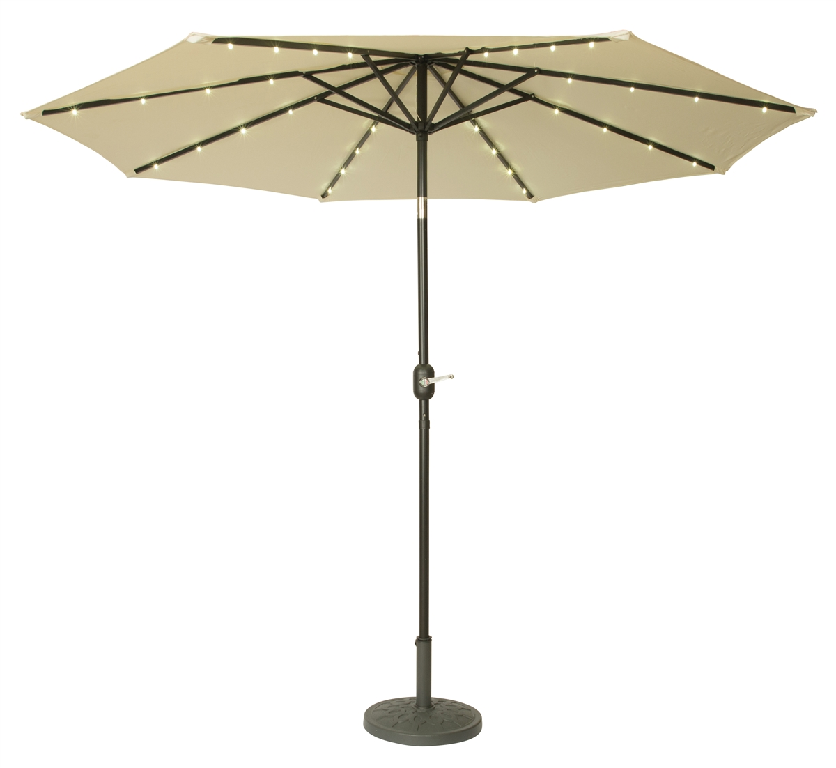 9u0027 Deluxe Solar Powered LED Lighted Patio Umbrella By Trademark Innovations  (Beige)