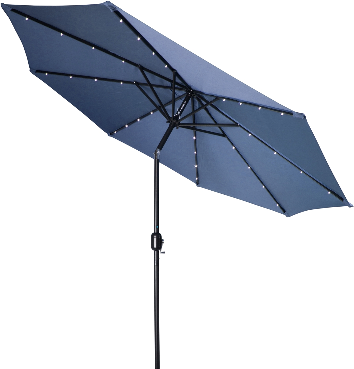 9u0027 Deluxe Solar Powered LED Lighted Patio Umbrella By Trademark Innovations  (Blue)