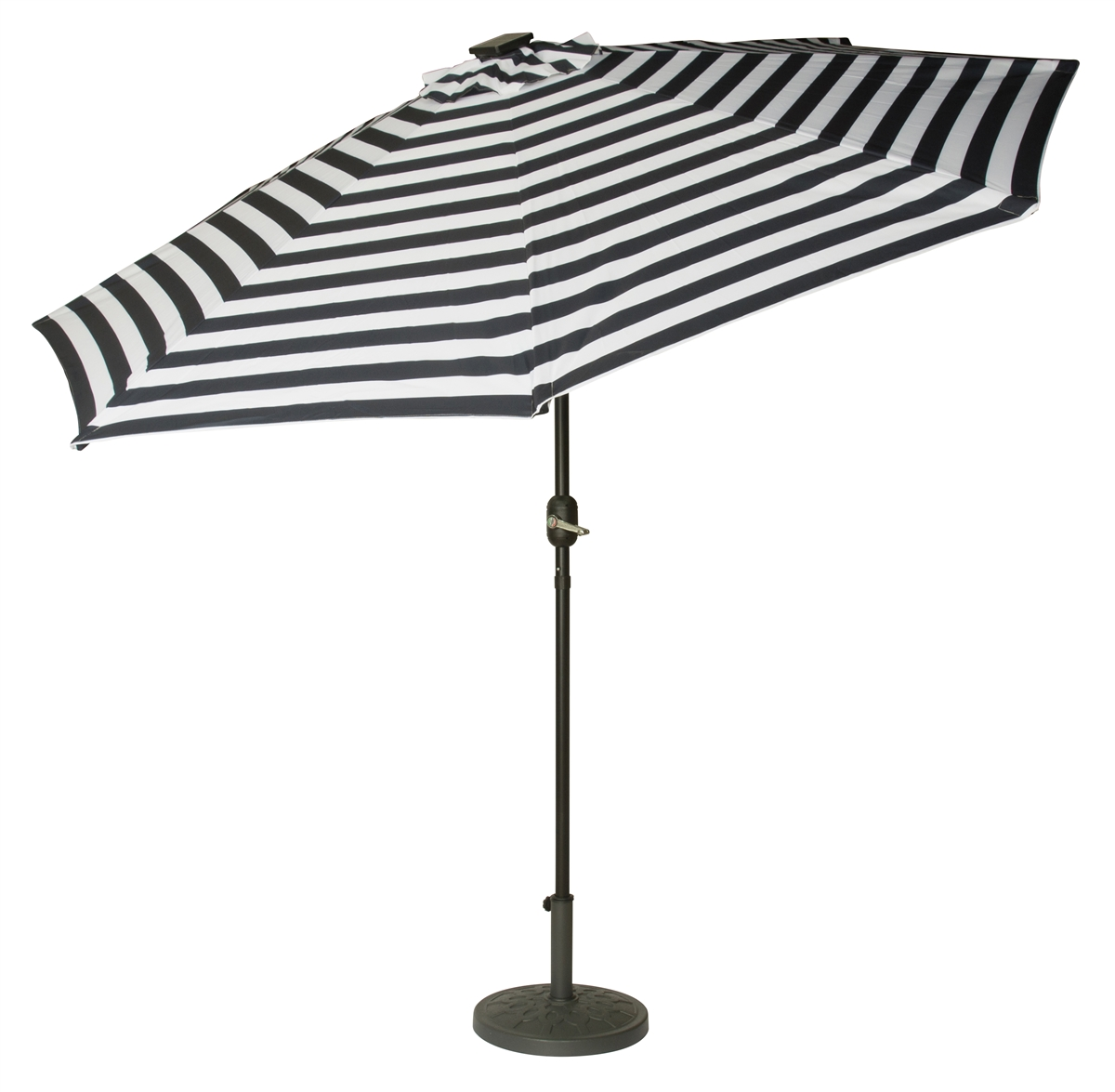9 Deluxe Solar Ed Led Lighted Patio Umbrella By Trademark Innovations Blue Striped