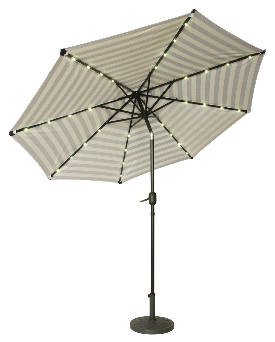 9u0027 Deluxe Solar Powered LED Lighted Patio Umbrella By Trademark Innovations  (Blue Striped)