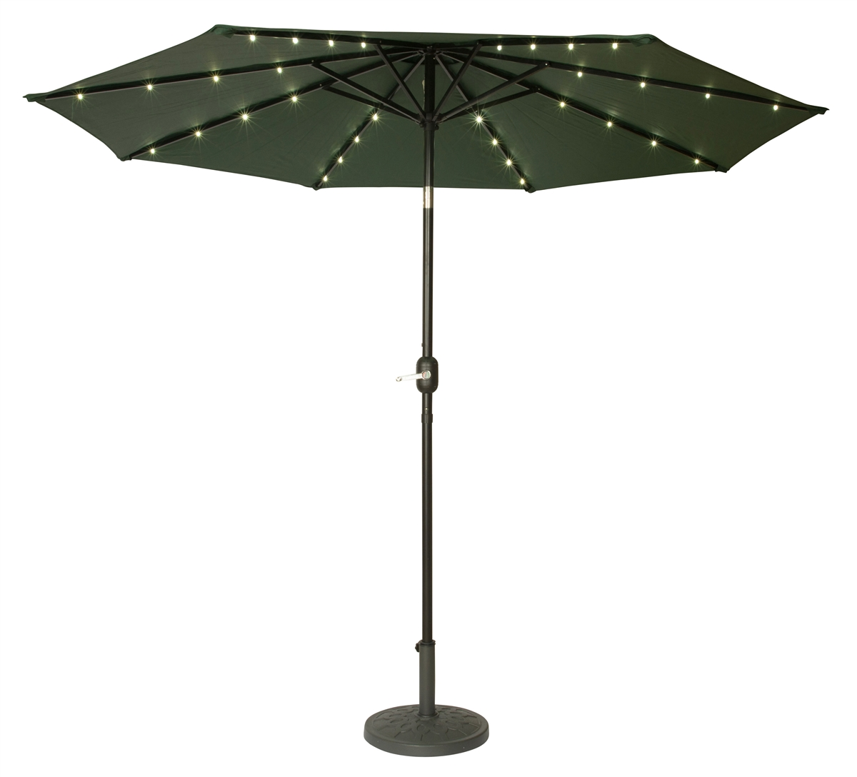 9 Deluxe Solar Powered Led Lighted Patio Umbrella By Trademark Innovations Green