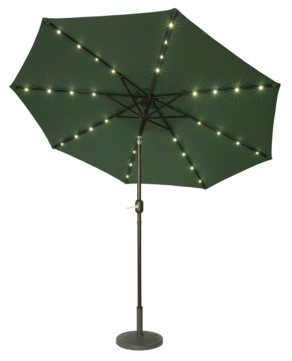 9' Deluxe Solar Powered LED Lighted Patio Umbrella by Trademark Innovations  (Green) - 9' Deluxe Solar Powered LED Lighted Patio Umbrella By Trademark