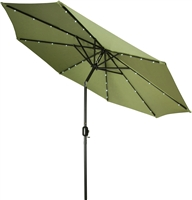 9' Deluxe Solar Powered LED Lighted Patio Umbrella by Trademark Innovations (Light Green)