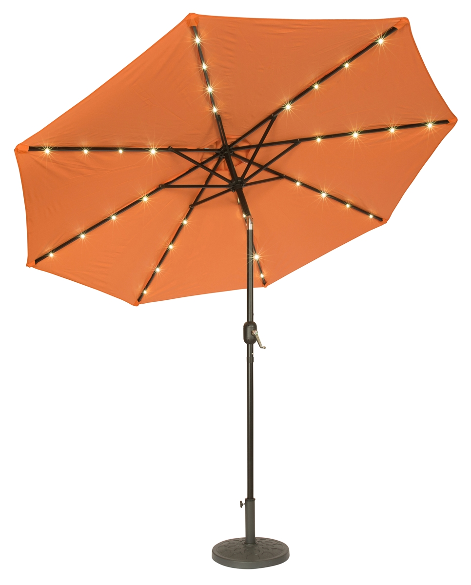 9 Deluxe Solar Ed Led Lighted Patio Umbrella By Trademark Innovations Orange