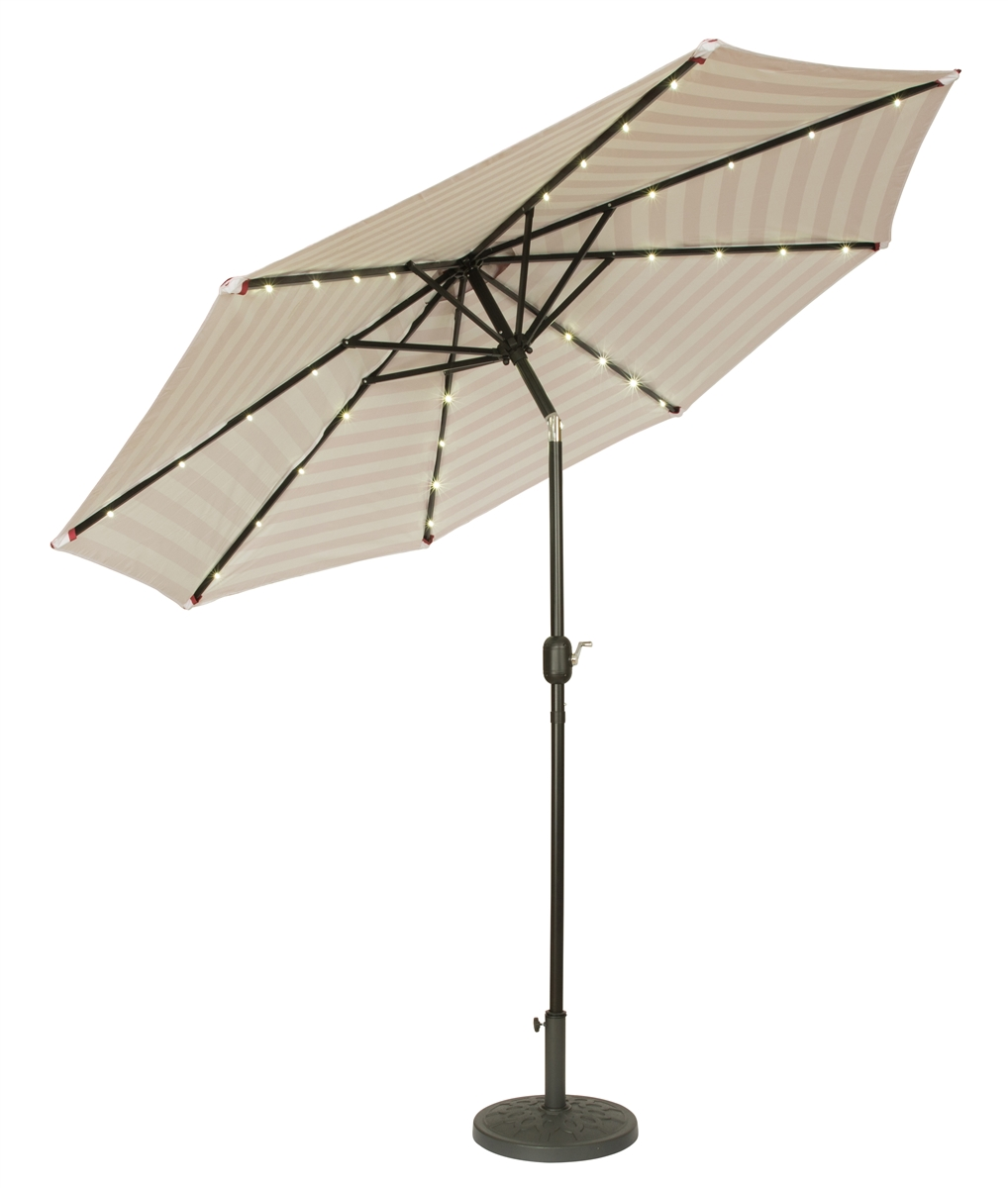 9u0027 Deluxe Solar Powered LED Lighted Patio Umbrella By Trademark Innovations  (Red Striped)