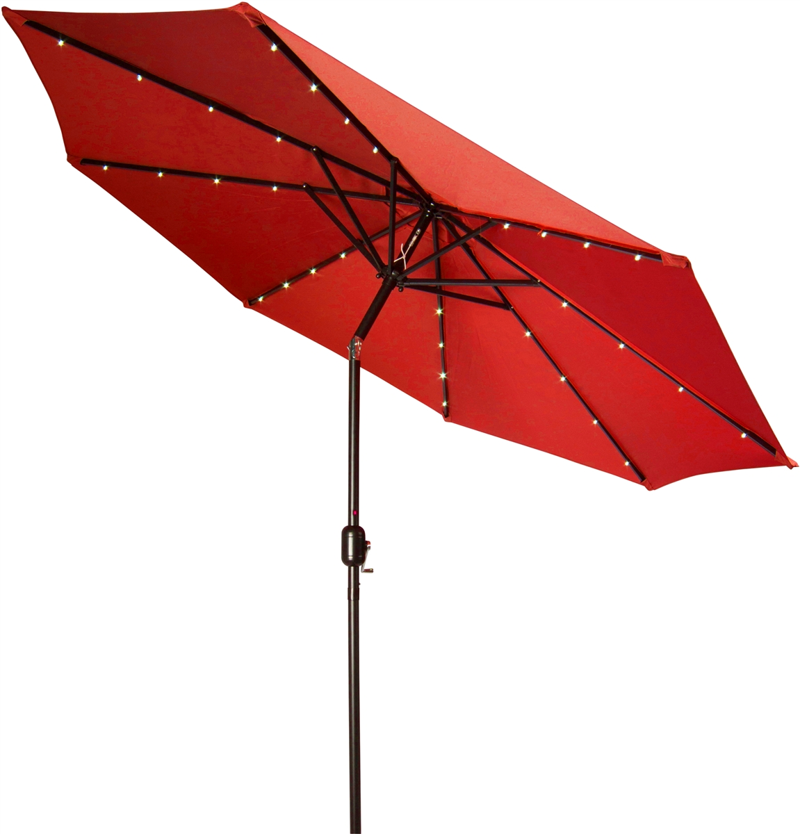 9u0027 Deluxe Solar Powered LED Lighted Patio Umbrella By Trademark Innovations  (Red)