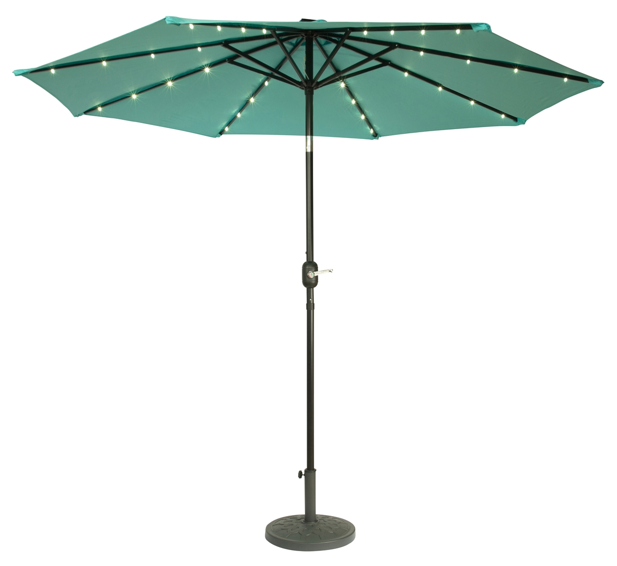 Merveilleux 9u0027 Deluxe Solar Powered LED Lighted Patio Umbrella By Trademark Innovations  (Teal)