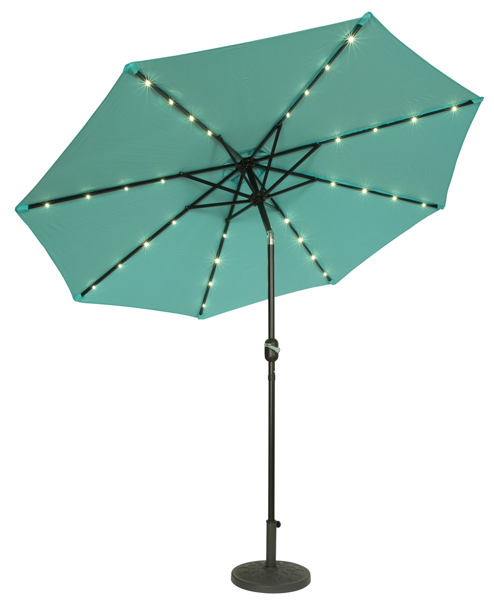 Bon 9u0027 Deluxe Solar Powered LED Lighted Patio Umbrella By Trademark Innovations  (Teal)