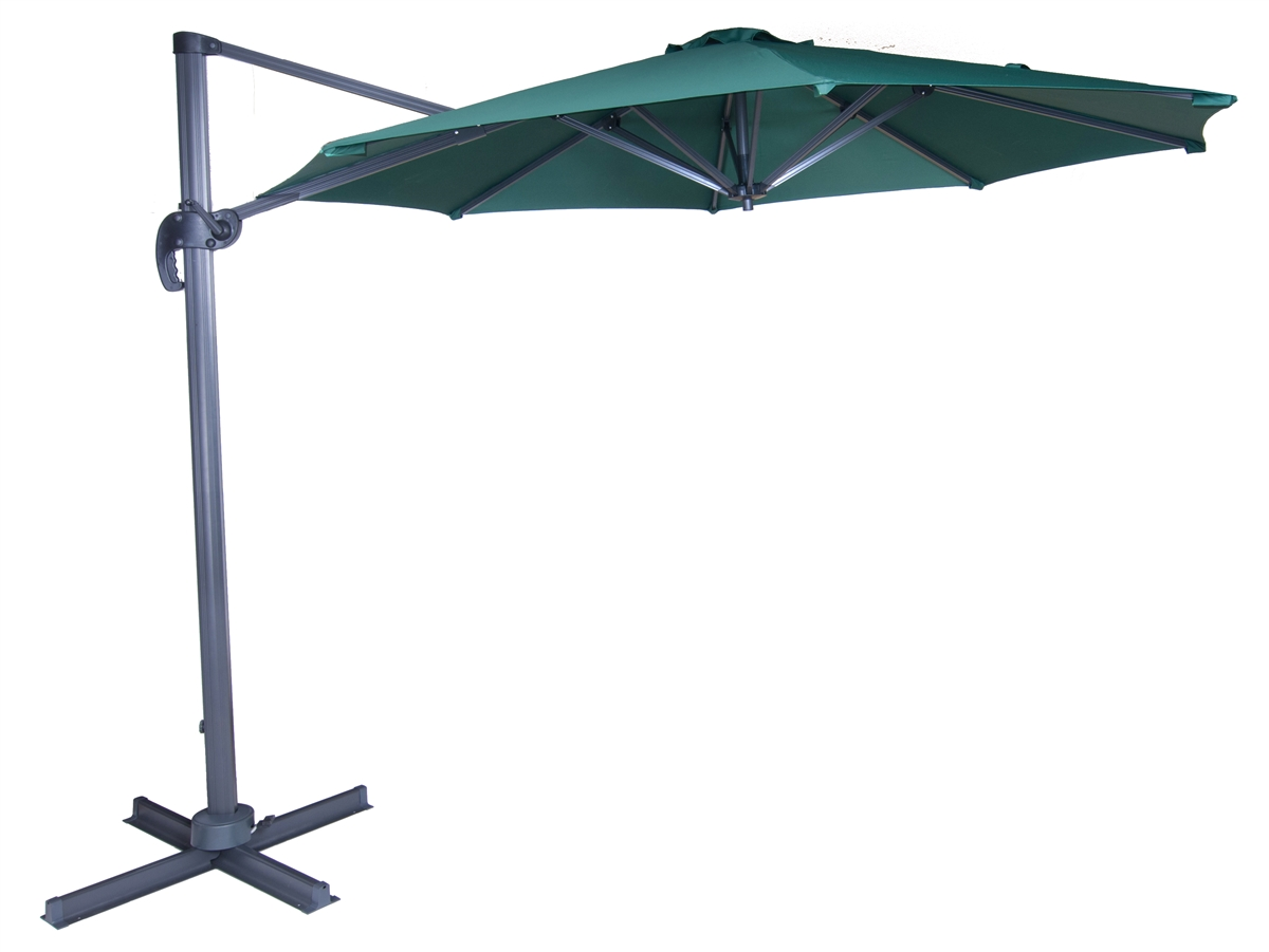 10 Deluxe Green Polyester Offset Roma Patio Umbrella By Trademark Innovations