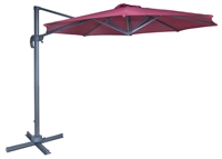 10' Deluxe Red Polyester Offset Roma Patio Umbrella by Trademark Innovations