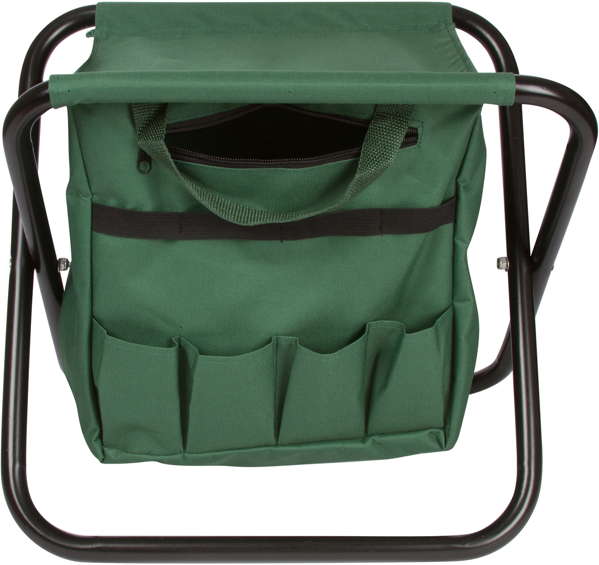Folding Gardening Stool With Attached Tool Bag By