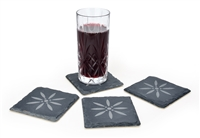 "Slate Coasters Set of 4- 4"" x 4"" Engraved with Flower-by Trademark Innovations"