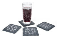 "Slate Coaster Set of 4 4"" x 4"" Engraved with Contemporary Design- By Trademark Innovations"