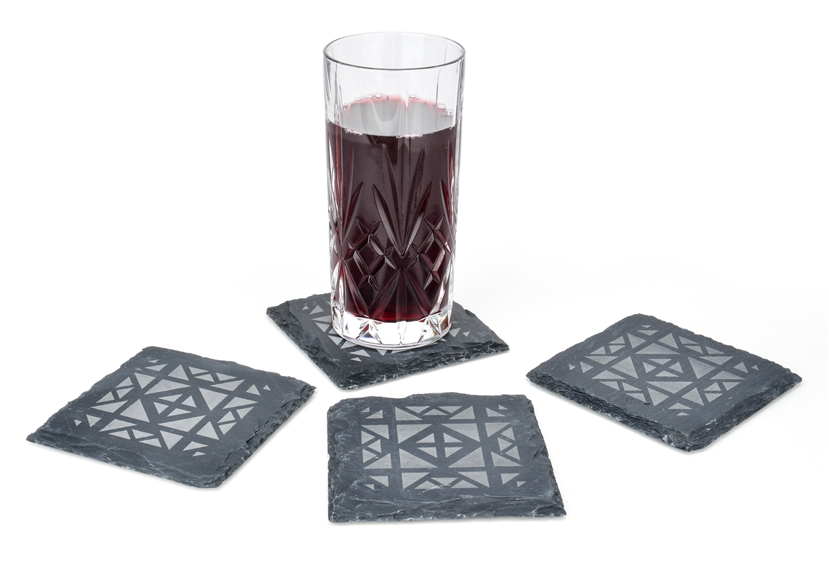 Slate Drink Coasters Set of 4-4 x 4 By Trademark Innovations