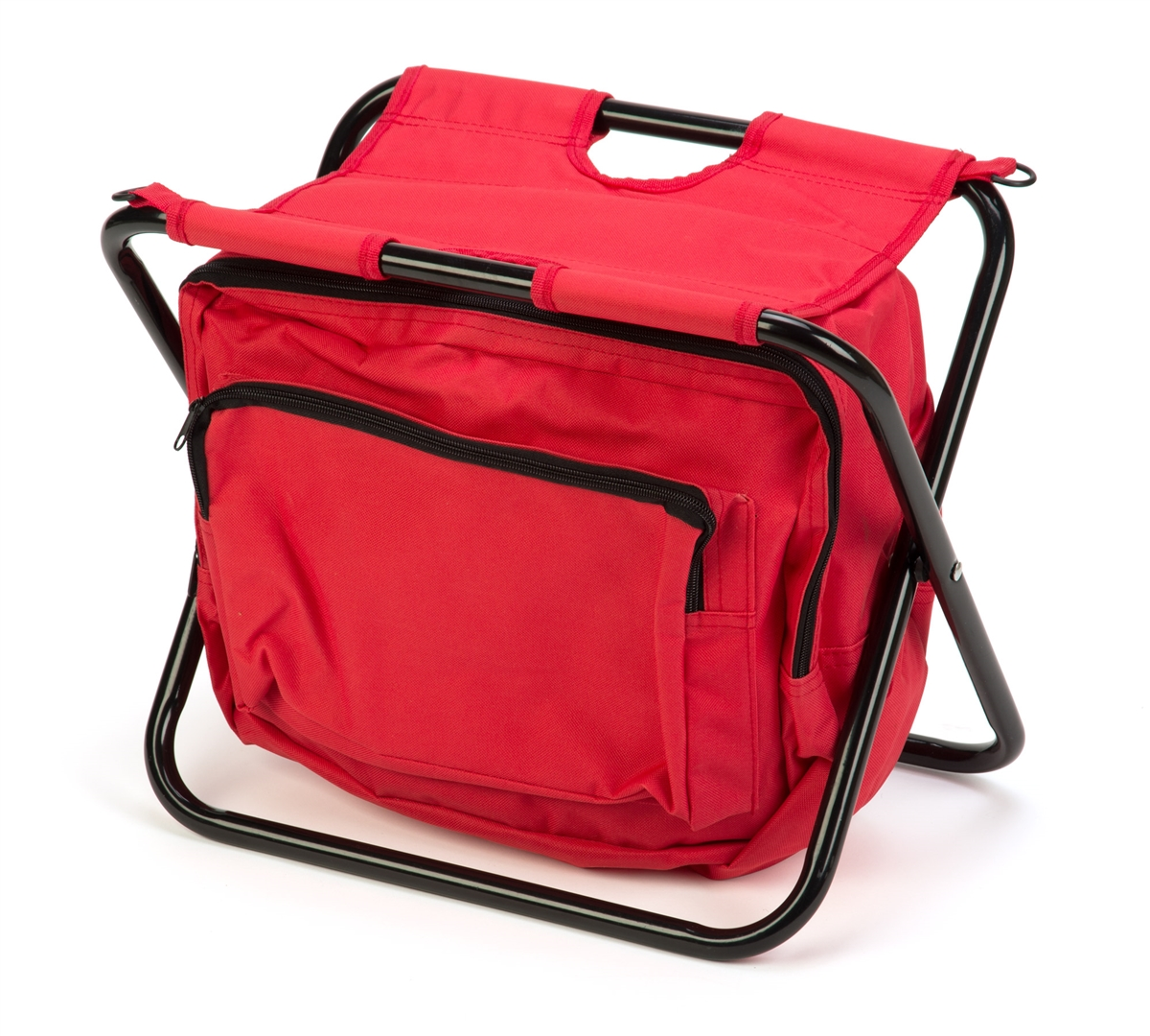 Portable Folding Camp Stool With Storage Pouch By Trademark Innovations  (Red)
