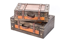 Set of 2 Vintage Style Wood Decorative Suitcases By Trademark Innovations
