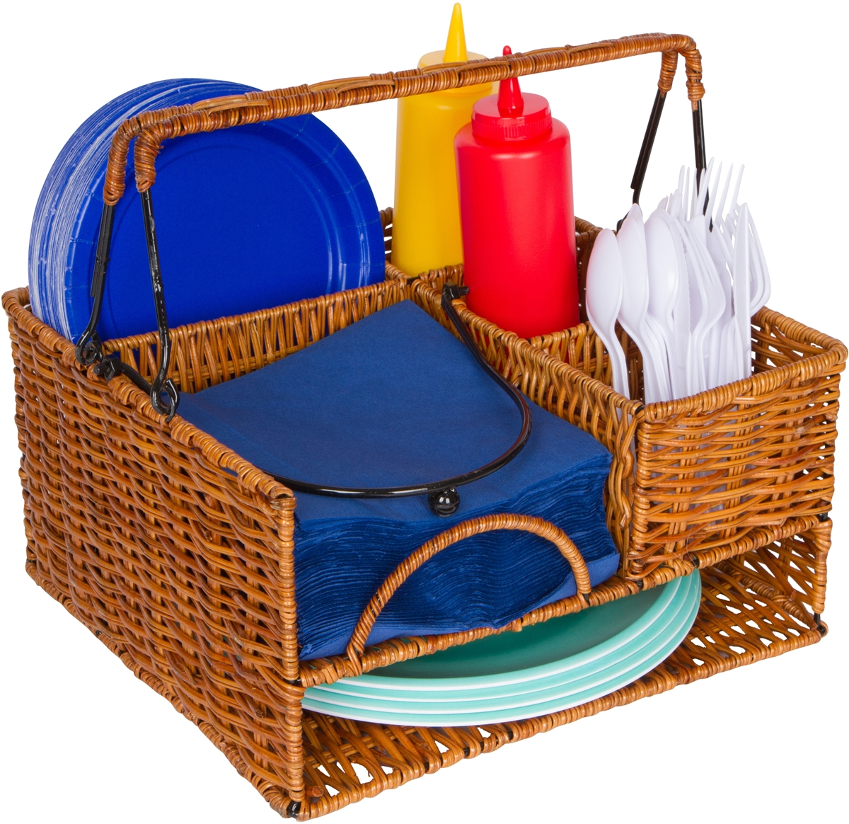 Rattan Tabletop Serveware and Condiment Organizer and Caddy by ...