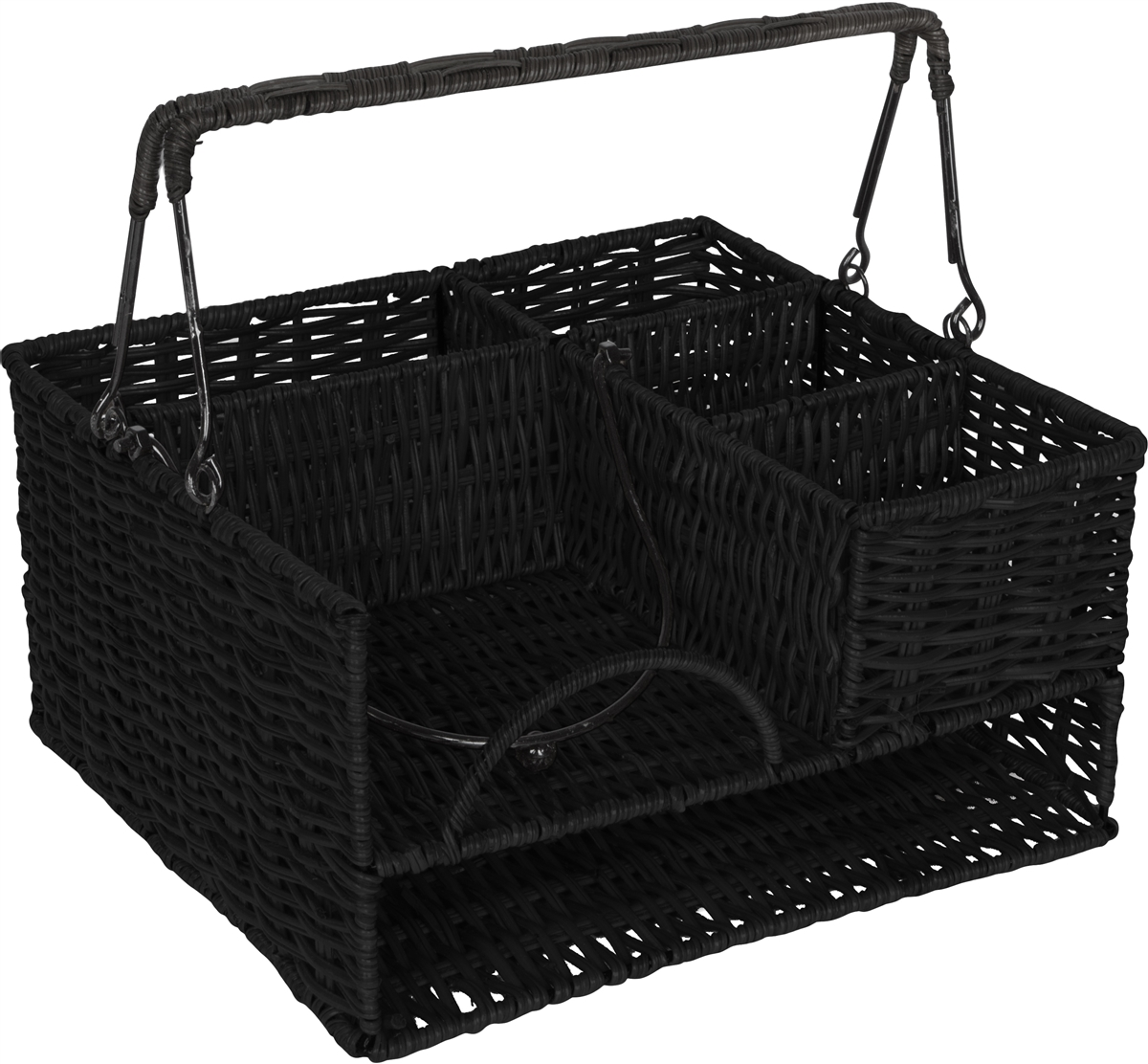 Merveilleux Rattan Tabletop Serveware And Condiment Organizer And Caddy By Trademark  Innovations (Black)