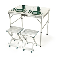 2 Person Aluminum Lightweight Folding Camp Table with 2 Stools by Trademark Innovations