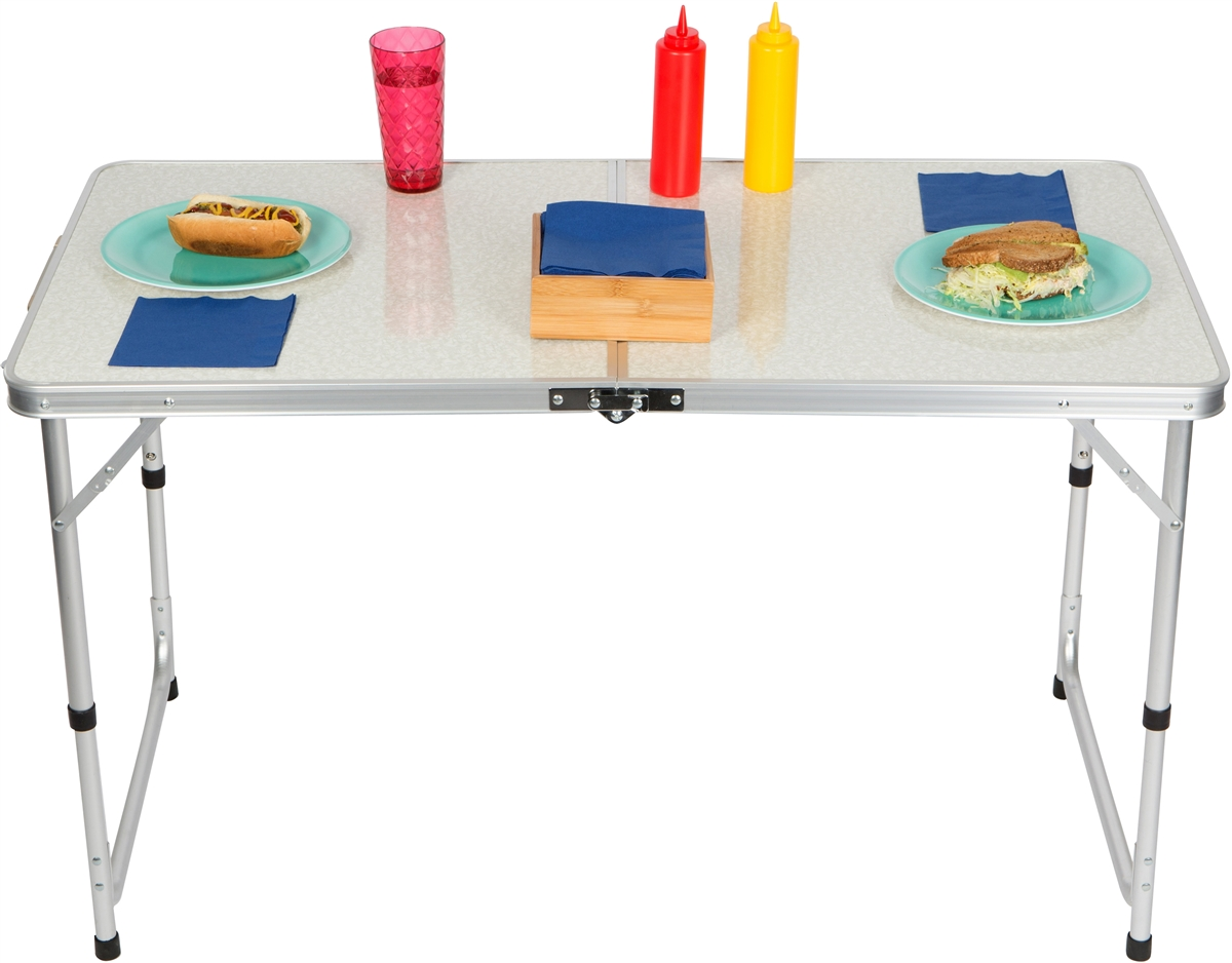 Lightweight Adjule Portable Folding Aluminum Camp Table With Carry Handle By Trademark Innovations