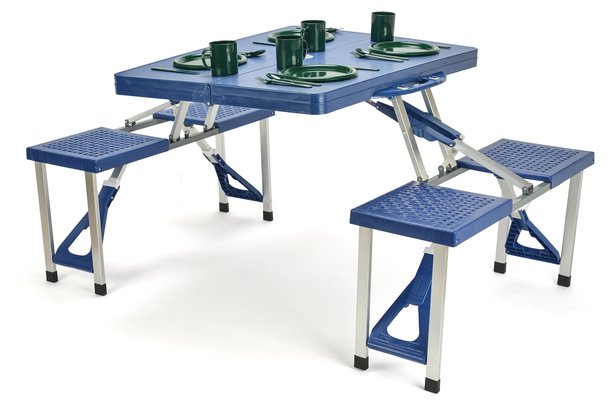 Portable Aluminum Folding Picnic Table with 4 Seats by Trademark ...