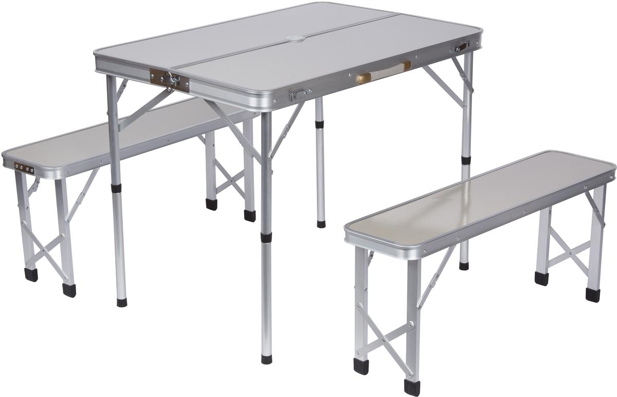 Portable Aluminum Folding Picnic Table with 2 Folding Bench Seats
