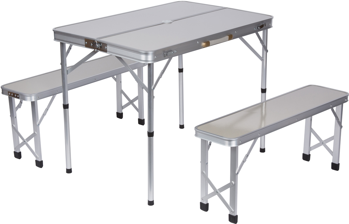 Portable aluminum folding picnic table with 2 folding for Table retractable