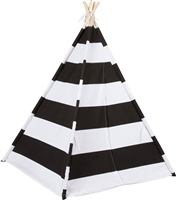 Canvas Teepee 6' With Carrycase -Playful Black Stripes by Trademark Innovations