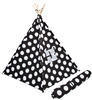 Canvas Teepee 6' With Carrycase -Whimsical BlackWith White Polka Dot by Trademark Innovations