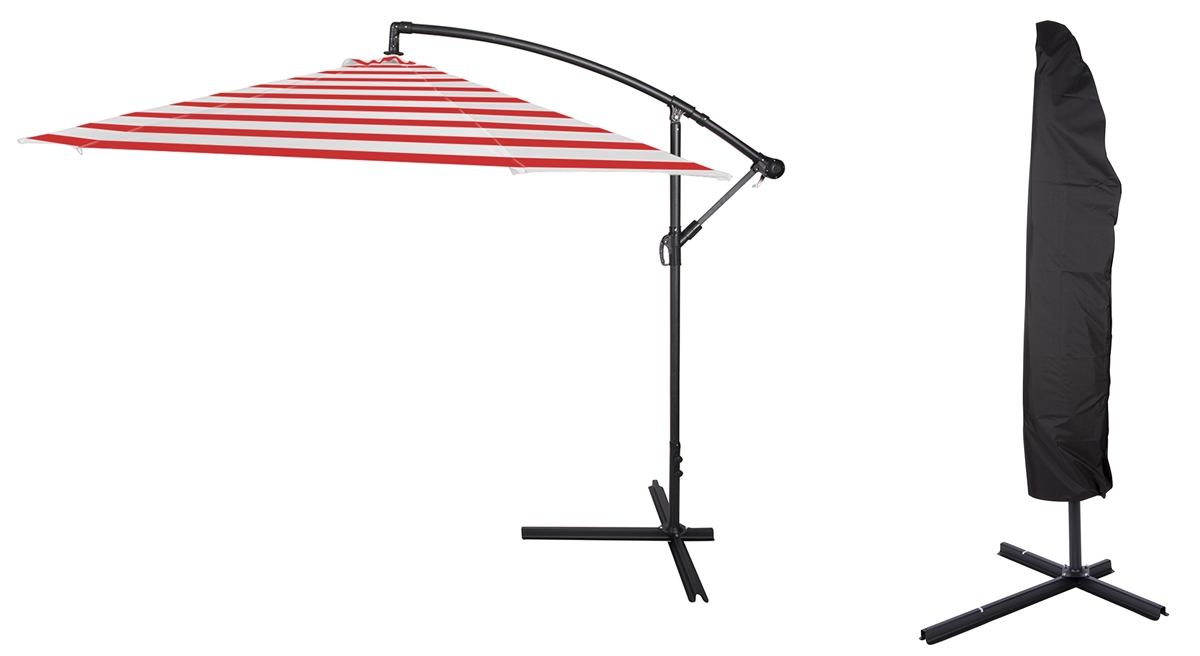 10 Deluxe Polyester Offset Patio Umbrella With Cover By Trademark Innovations Red Striped