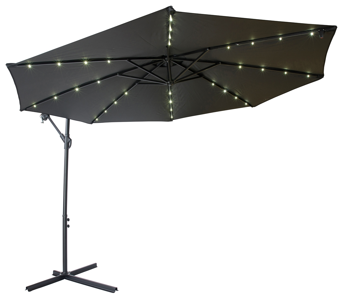 10u0027 Deluxe Polyester Offset Patio Umbrella With LED Lights By Trademark  Innovations (Black)
