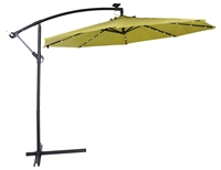 10' Deluxe Polyester Offset Patio Umbrella with LED lights by Trademark Innovations (Light Green)