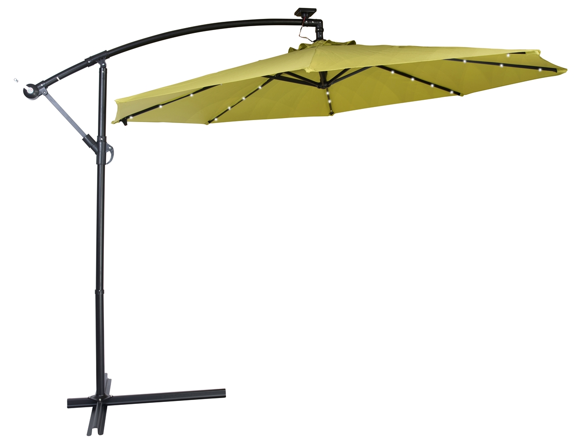 Amazing 10u0027 Deluxe Polyester Offset Patio Umbrella With LED Lights By Trademark  Innovations (Light Green)