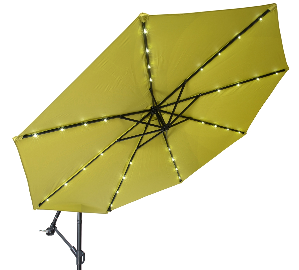 10u0027 Deluxe Polyester Offset Patio Umbrella With LED Lights By Trademark  Innovations (Light Green)