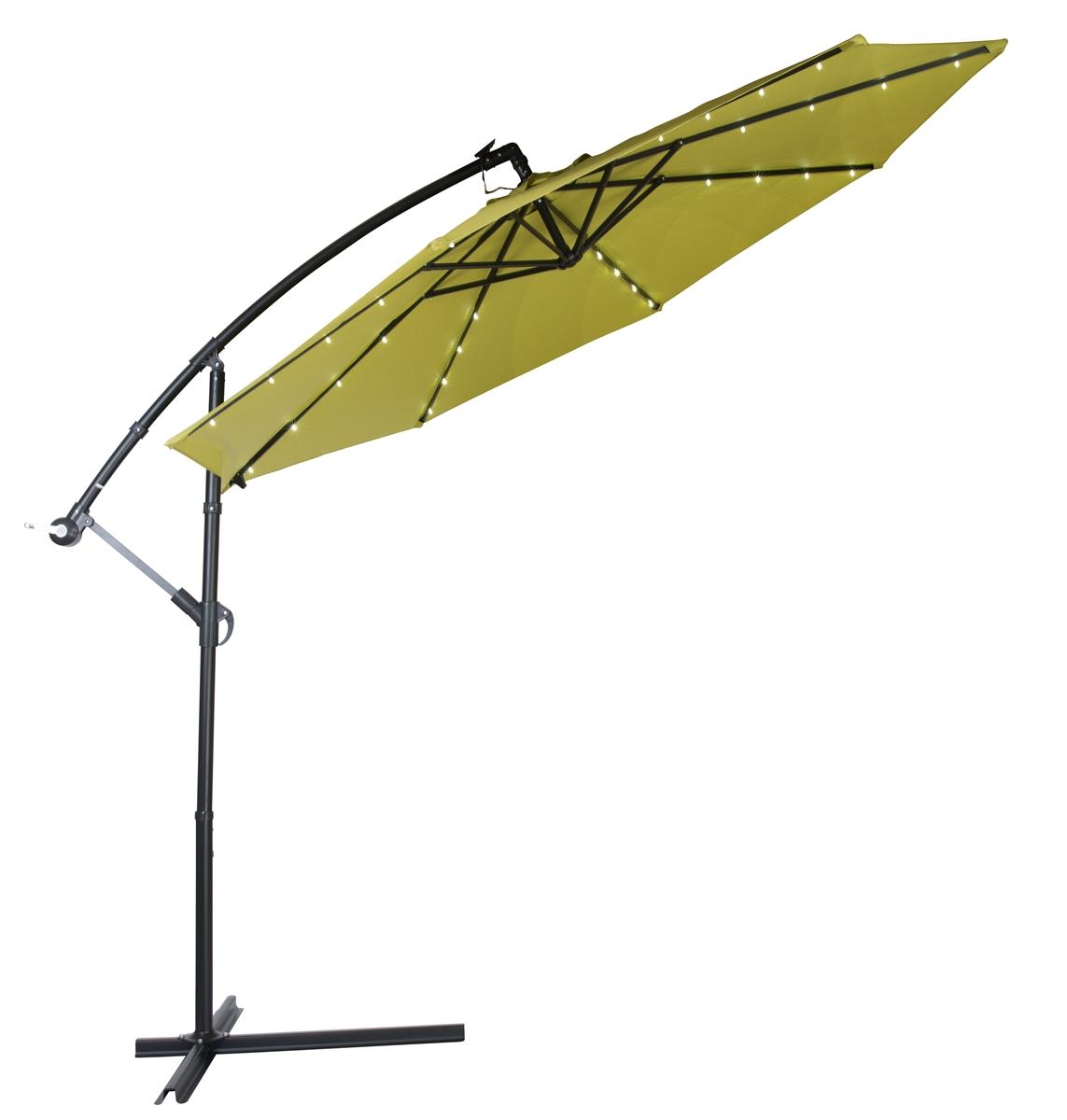 Patio Umbrella Alternative: 10' Deluxe Polyester Offset Patio Umbrella With LED Lights