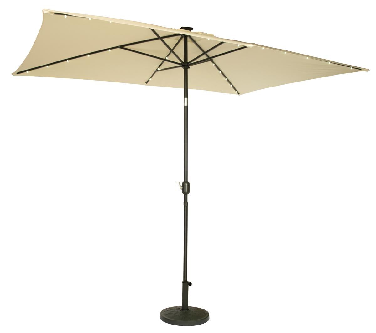 10u0027 X 6.5u0027 Rectangular Solar Powered LED Lighted Patio Umbrella By  Trademark Innovations (Beige)