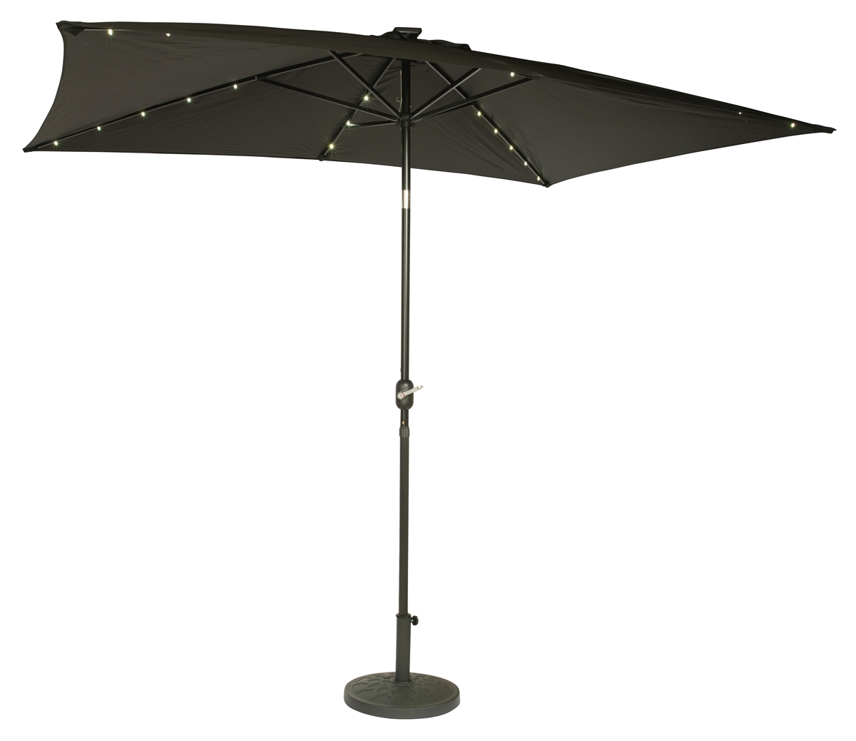 Captivating 10u0027 X 6.5u0027 Rectangular Solar Powered LED Lighted Patio Umbrella By  Trademark Innovations (Black)