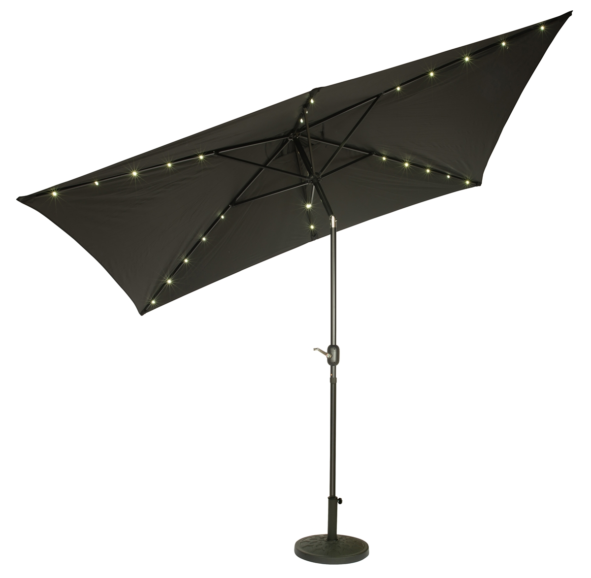 10u0027 X 6.5u0027 Rectangular Solar Powered LED Lighted Patio Umbrella By  Trademark Innovations (Black)