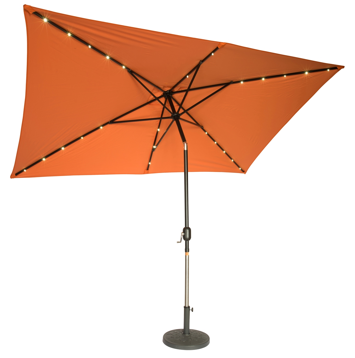 Elegant 10u0027 X 6.5u0027 Rectangular Solar Powered LED Lighted Patio Umbrella By  Trademark Innovations (Orange)