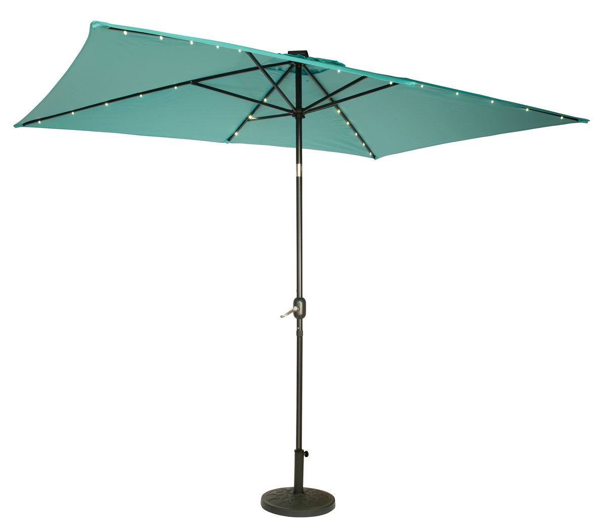 10 x 65 rectangular solar powered led lighted patio umbrella by trademark innovations teal - Rectangle Patio Umbrella