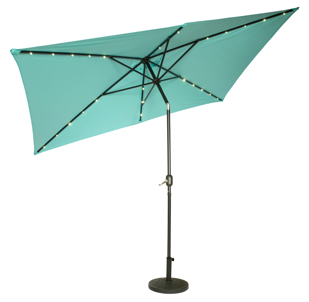 10u0027 X 6.5u0027 Rectangular Solar Powered LED Lighted Patio Umbrella By  Trademark Innovations (Teal)
