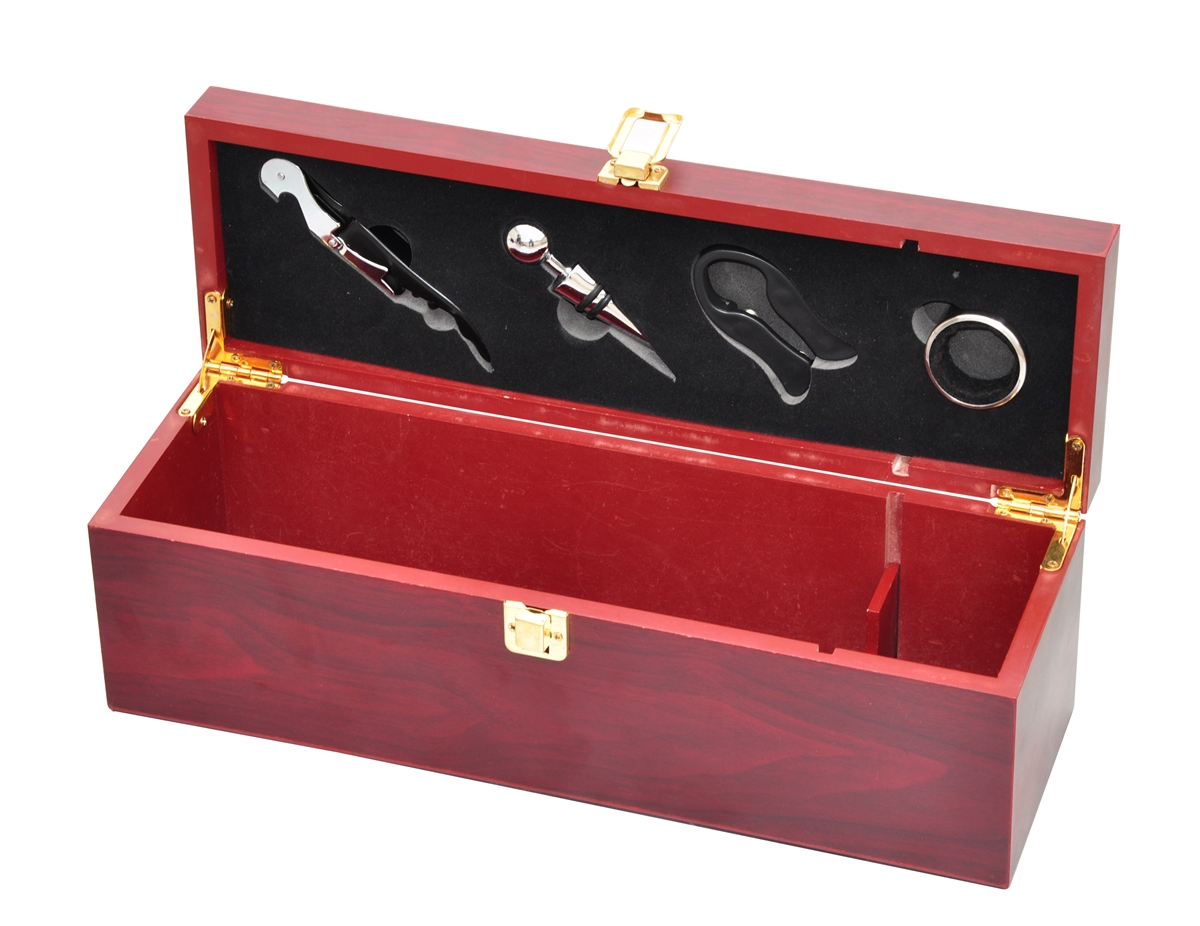 Wine gift box set wooden for 1 bottle by trademark innovations publicscrutiny Image collections