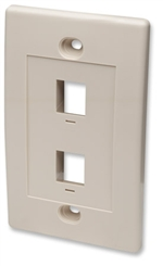 Wall Plate Flush Mount, 2 Outlet, Ivory