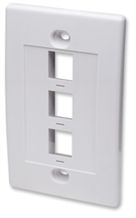 Wall Plate Flush Mount, 3 Outlet, White
