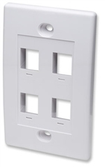 Wall Plate Flush Mount, 4 Outlet, White