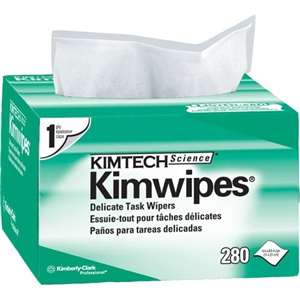"Kimwipes Delicate Task Wipers - Single Ply, 280 wipes (4.4""x8.4"") Pop-up box"