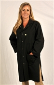 Traditional Lab Coat, Nylostat fabric, knee-length coat, Black, 3pockets