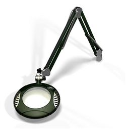 "LED Illuminated Magnifier Green-Lite, 6"", 2.25x(5 Diop), 43"" arm, Screw Down Base Assembly, Multi Angle LEDs, 120-240V, Racing Green"