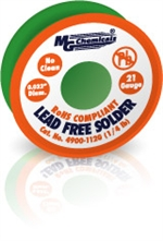 "SAC305 (Sn96) LF, NC,  0.032"", 21 Gauge, 96.3% tin, 0.7% copper and 3% silver, 1/4 lb (113 g) Spool, Lead-Free Solder Wire"