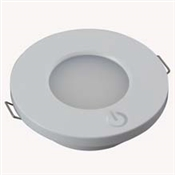 LED LIGHT ROUND INTERIOR 12/24VDC 14 WHITE LEDS WHITE HOUSING WITH TOUCH SWITCH ON HOUSING 2.5 WATTS